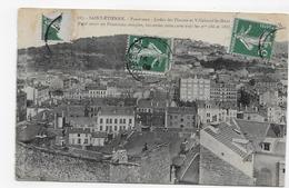 SAINT ETIENNE EN 1908 - N° 187 - PANORAMA - JARDIN DES PLANTES ET VILLEBOEUF LE HAUT - CPA VOYAGEE - Saint Etienne