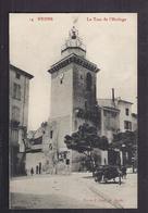 CPA 26 - NYONS - La Tour De L'Horloge - TB PLAN EDIFICE PLACE ANIMATION CENTRE VILLE + Brouette Fontaine - Nyons