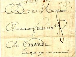 1758 - Lettre DE LA  ROCHELLE ( Charente Maritime ) Lenain N° 8  Taxe 8 Sols Pour Caussade - 1701-1800: Voorlopers XVIII