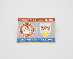 Badge Pin:  UEFA Cup Winners' Cup  1997-98 Lokomotiv Moscow USSR - VfB Stuttgart Germany - Football