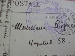 Sur CPA Bétharam Cachet Bleu Chalons Hop. Comp. 1915 Hôpital Complémentaire - Marcophilie (Lettres)