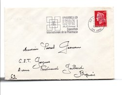 FLAMME IFARMEX EXPO INTERN. DE LA PHARMACIE LYON 1969 - Marcofilia (sobres)