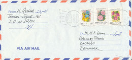 Iran Air Mail Cover Sent To Denmark 27-8-1995 Topic Stamps Flowers - Iran