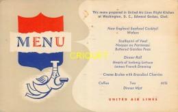 Publicité, Rare Carte-menu Pour La Compagnie Aérienne United Air Lines, Affranchie Air Mail 1950 - Reclame