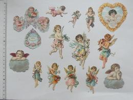 CHROMO DECOUPIS Gaufré: ANGE Bébé Lot 14 Différents Même Thème - Garçonnet Fillette Religieux Fleur Coeur Nuage Religion - Angels