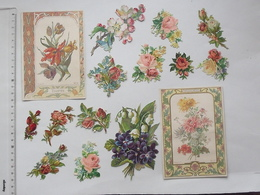 CHROMO DECOUPIS Gaufré: FLEUR Tulipe Chrysanthème Lot 15 Différents Même Thème - Pensée Rose Fleurs Muguet - Angels