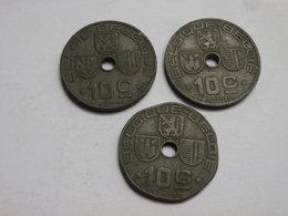 Belgique WWII  Lot De 3 Pieces De  10  Cts 1941 1942    Un Flan Rogné 1943      Zinc TTB - 02. 10 Centimes