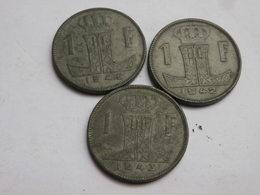Belgique WWII  Lot De 3 Pieces De  1 Franc 1942 43 45     Zinc TTB - 1934-1945: Leopold III