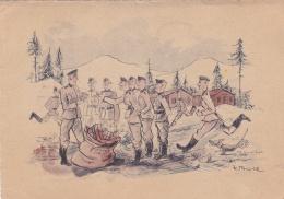German Feldpost WW2: Humour Postcard With Soldiers Getting Feldpost From Reserve Kriegslazarett Brest-Litowsk (Belorussi - Militaria