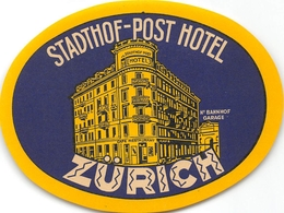 """¤¤  -  Etiquette De L'Hôtel """" STADTHOF-POST-HOTEL """"  -   Suisse , Zurick    -  Voir Description - Etiquettes D'hotels"""
