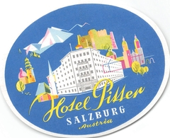 """¤¤  -  Etiquette De L'Hôtel """" PITTER """"  -   Autriche , Salzburg    -  Voir Description - Etiquettes D'hotels"""
