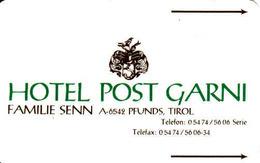 Hotel Post Garni Pfunds, Tirol, Austria - Hotel Keycards