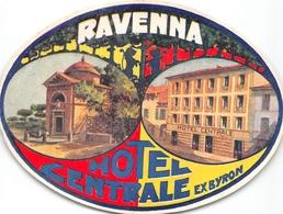 """¤¤  -  Etiquette De L'Hôtel """" CENTRALE """" Ex """" Byron """"   -  Italie , Ravenna   -  Voir Description - Etiquettes D'hotels"""