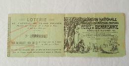 1911 Billet De Loterie Fédération Nationale Des Sapeurs Pompiers Français, Paris - Lottery Tickets