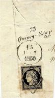1850- Grand Fragment De Lettre Cursive Quincy-Ségy ( Seine Et Marne ) Affr. N°3 Grille ( 4 Marges ) - 1849-1850 Ceres