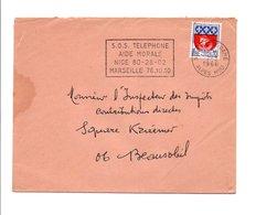 FLAMME SOS TELEPHONE AIDE MORALE NICE 1966 - Sellados Mecánicos (Publicitario)