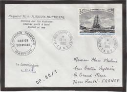 E33 - TAAF - PA53 Du 13.1.1980 Sur Enveloppe Cachets Du Marion Dufresne Et Signature Du Commandant.OP.80/1 - French Southern And Antarctic Territories (TAAF)