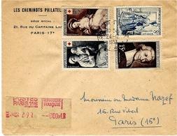 1953- Enveloppe RECC. De Paris - Affr. à 50 F  Dont N°966 Et 967 + étiquette De RECC. De Distributeur - 1921-1960: Modern Period