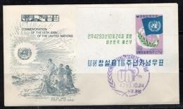 Flag UNO 1960 Mi. Block No. 153 GREYISH CACHET  (k293) - Korea, South
