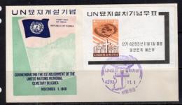 UNO Korean Victims In The War Sheet 1960 On FDC SCARCE!!! (k213) - Korea, South