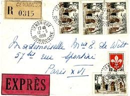 1959- Enveloppe EXPRES Oblit. Facteur-receveur De CENDRIEUX ( Dordogne ) Affr. à   205 F - 1921-1960: Modern Period