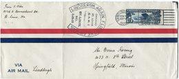 """ETATS-UNIS LETTRE PAR AVION AVEC CACHET """"LINDBERGH AGAIN FLIES THE AIR MAIL"""" DEPART SAINT LOUIS FEB 20 1928 POUR LES.... - 1c. 1918-1940 Covers"""
