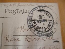 Sur CPa Perpignan Hôpital Annexe Perpignan - Marcophilie (Lettres)