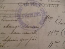 Sur CPA Provins Cachet Bleu Commandant Dépot D'Eclopés Provins - Marcophilie (Lettres)