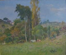 LUC BELIN (Joseph Pierre Lucien ) HUILE SUR PANNEAU Signée  - Vaches Sur Paysage - Oils