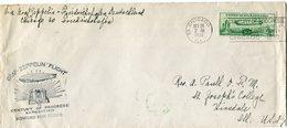 "ETATS-UNIS LETTRE AVEC CACHET ILLUSTRE ""GRAF ZEPPELIN FLIGHT TO CENTURY OF PROGRESS EXPOSITION DISPATCHED FROM CHICAGO"" - Air Mail"