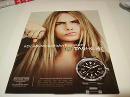PUBLICITE AFFICHE CARA DELEVINGNE AVEC MONTRE TAGHEUER  2016 - Jewels & Clocks