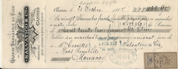 CANNES . TRAITE  .GRANDE BRASSERIE DU LION. POUR HOTEL BEAUSITE MONACO - Cheques & Traveler's Cheques