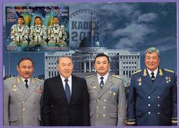 Kazakhstan. 2018. Maxicard.  National Space Agency KazCosmos. Cosmonauts Aubakirov, Musabayev, Aimbetov. Maximum Cards. - Kazakhstan