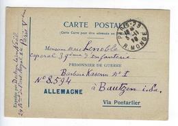 CPA 1916 Prisonnier De Guerre Allemagne Via Pontarlier Bautzen - Guerra 1914-18