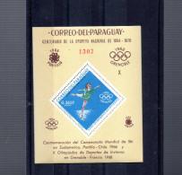 PARAGUAY MICHEL BLOC 91** SUR LES JEUX OLYMPIQUES DE GRENOBLE - Paraguay