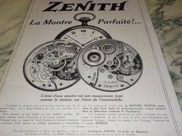 ANCIENNE PUBLICITE AFFICHE MONTRE ZENITH PARFAITE  1915 - Jewels & Clocks