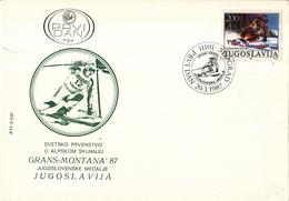 Joegoslavië - FDC 20-03-1987 - Medaillegewinne Durch Mateja Svet - Ski-Weltmeister - M 2215 - Skisport