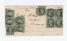 10 Types  Louis Napoléon 1 C  Olive Sur Lettre Dont Un Bloc De 4 Abîmé. (533) - Marcophilie (Lettres)