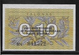 Lituanie - 0,10 Talonas -  Pick N°29b  - NEUF - Lituanie