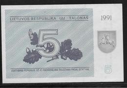Lituanie - 5 Talonas -  Pick N°34b  - NEUF - Lithuania