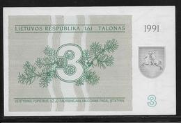 Lituanie - 3 Talonas -  Pick N°33b  - NEUF - Lithuania