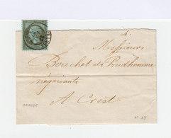 Sur Lettre SC Type Napoléon III 1 C.olive CAD Orange 1867. CAD Crest. (535) - Marcophilie (Lettres)