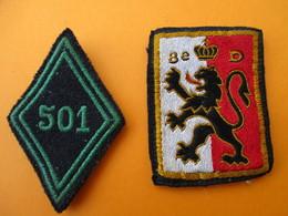 Militaria/2  Ecussons Tissu/ Lion  Origine à Déterminer/ 501éme De Chars De Combat/ Vers 1950-60      ET200 - Patches