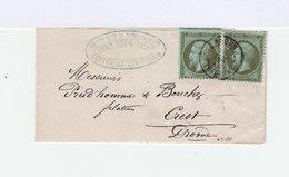 Deux Timbres 1 C. Type Napoléon III 1 Sur Lettre. (536) - Marcophilie (Lettres)