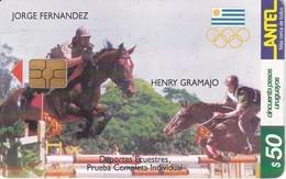 Nº 140 TARJETA  DE URUGUAY DE HIPICA DE 50$ CABALLO-HORSE  (CHIP G4 NEGRO) - Uruguay