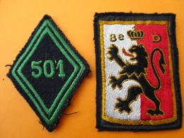 Militaria/2  Ecussons Tissu à Coudre/ Lion  Origine à Déterminer/ 501éme De Chars De Combat/ Vers 1950-60      ET201 - Patches