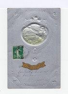 Carte Gaufrée Argentée Style Art Nouveau. Cadre Avec Femme Et Fleurs. Etiquette Bonne Année. (2968) - Femmes