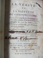 La Vérité Et La Sainteté Du Christianisme - Blasphème D'un Livre - 1796 - Books, Magazines, Comics
