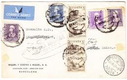 1939 Zensurierter Brief Aus Barcelona Nach Zürich Weitergeleitet Nach Zug, Leicht Fleckig - 1931-50 Lettres