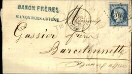 Lettre  CAD T 18 De DIGNE  1876  GC 1304 - Marcophilie (Lettres)